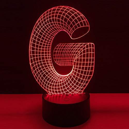 Buchstabe G 3D LED optische Täuschung Smart Night Light , 7 Farben Wechsel USB Power Touch Switch Dekor Lampe Nachttisch Schreibtischlampe