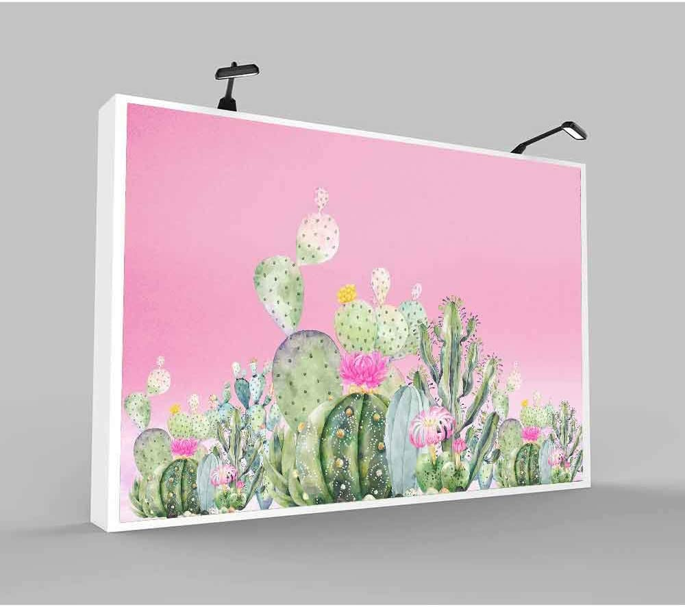 GESEN Mexican Llama Backdrop 10x7ft White Alpaca Watercolor Cactus Flower Photo Background Vintage Wooden Board Photography Backdrop for Pictures LSGE795
