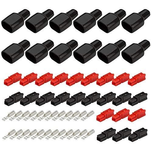 GTIWUNG 12 Paar Powerpol-Steckverbinder, 30 A, Schnelltrennung, Stromkabelschuhe, Set mit 24 x 30A Kontakt, 12 x Gehäuse Rot, 12 x Gehäuse Schwarz, 12 x Gummistiefelmanschetten