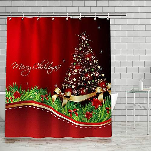 KIPIDA Weihnachts Duschvorhang,Wasserfeste Bad Vorhang aus Polyestergewebe mit 12 Haken, Duschvorhang Waschbar, Weihnachtsthema für Weihnachtsdekoration (180x180cm)