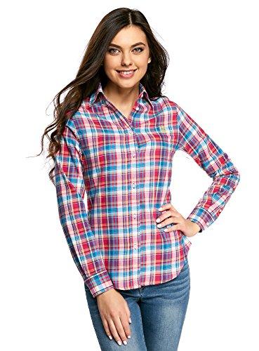 oodji Ultra Damen Lässiges Hemd mit Stickerei, Rosa, DE 34 / EU 36 / XS
