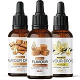 Flavour Drops • 3er Probierset mit Karamell, Vanille, Butterkeks • Aromatropfen ohne Kalorien • Geschmackstropfen zum Süßen von Lebensmitteln