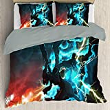 Elxmzwlob Anime Poke-mon Detective Pikachu Duvet Cover Set, Breathable, Hypoallergenic with Four Corner Straps, Decorative 2 Piece Bedding Set with 1 Pillow Sham, Queen Full Twin Size