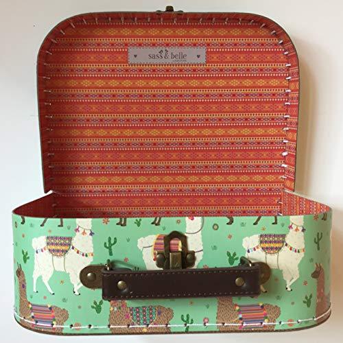 Sass and Belle Koffer/Kinderkoffer/Puppenkoffer/Aufbewahrungsbox. Pappkoffer, 3 Verschiedene Größen. (Grün/Lima Lama, Mittel)