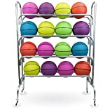 Crown Sporting Goods 4 Tier Ball Cart - 53' Steel Sports Ball Rack with Caster...