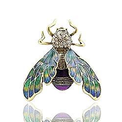 Green Bumble Bee Enamel Brooch With Rhinestones