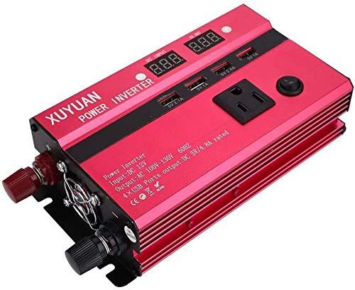 ZHTY Inversor de energía Solar de 350W DC 12V a 110V AC Adaptador de Cargador de convertidor de automóvil con Salida Universal 4 Interfaz USB e inversor de Camping Dual
