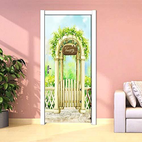 YIER LIFE™ Etiqueta de puerta 3D Mural Cartel Calcomanías Tiro con arco mansión planta verdor paisaje 95X215CM Pegatina autoadhesivo de puerta estéreo papel pintado Mural sala de estar decoración para