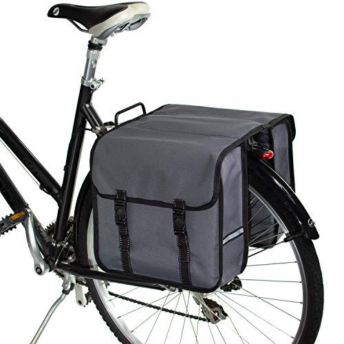 BikyBag Classico - Borse Doppio Portapacchi Bici da Ciclismo per Donna - Uomo (Margherita) (Grigio)