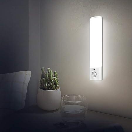 SECRUI - Luce notturna con sensore di movimento, ricaricabile tramite USB, a batteria, LED per interni, con magnete rimovibile, per camera da letto, armadio, corridoio, cucina - Bianco caldo