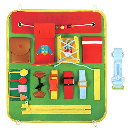 PP OPOUNT Busy Board Basic Skills Activity Boards, Educational Learning Toys Sensory Toy for Fine Motor Skill, Airplane or Car Travel