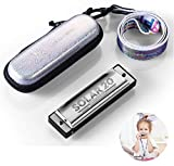 Blues Harmonica 10 Holes 20 Tunes Mouth Organ Key of C Major for Beginner Kids or Adult with Case and Lanyard...