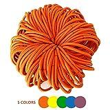 Cinta de cabello elástica monocromática, adecuada para una mujer o una chica con pelo atado, banda elástica muy elástica, puede ser usada varias veces.(100 pcs) (Naranja)