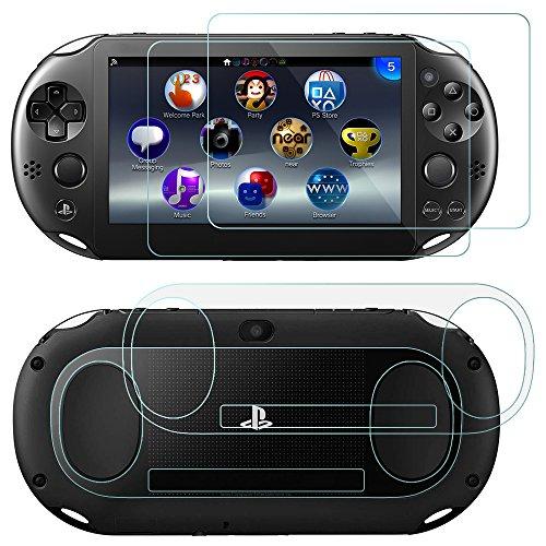 Protectores de Pantalla para Sony PlayStation Vita 2000 con Espalda Protectores, AFUNTA 2 Pack (4 piezas) de Vidrio Templado para Pantalla Frontal y HD Película de PET Transparente