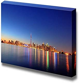 Gogobebe Canvas Wall Art Print Paintings - Toronto Cityscape Skyline Panorama at Dusk Over Lake with Colorful Light. Modern Wall Decor Home Decor Stretched Gallery Canvas Wraps Giclee Print - 8