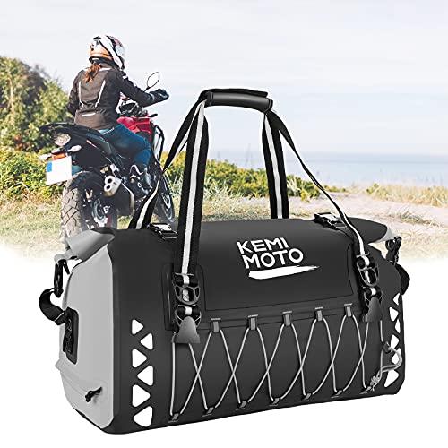 Kemimoto Motorcycle Dry Bag 50L, Waterproof Motorcycle Duffel Bag Motorcycle Luggage Bag Motorcycle Tail Bag Travel Bag Back Seat Rack Trunk Bag for Motorcycle Trip Camping Rainproof - Grey