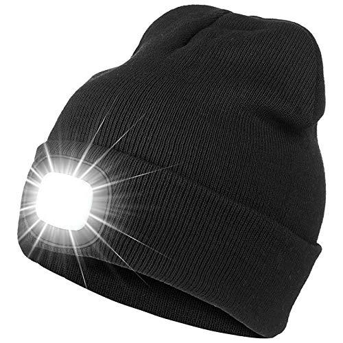 Nrpfell Gorro LED con Luz, Gorro de Faro LED Brillante Recargable, Sombreros de Punto CáLidos de Invierno Unisex, para Correr, Caminar