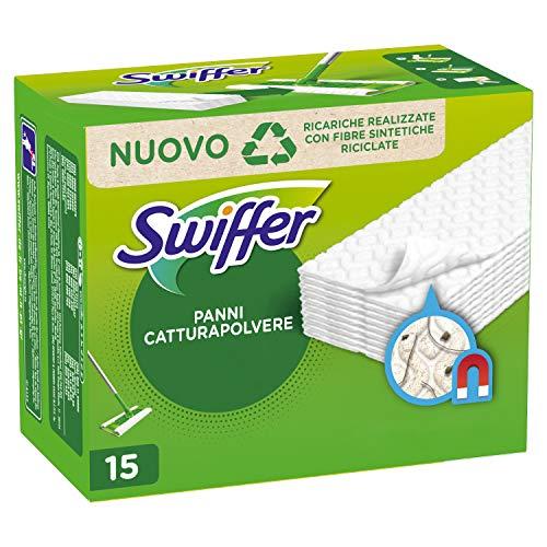 Swiffer Dry Panni Cattura Polvere, 15 Panni, Cattura e Intrappola Polvere e Sporco, Ottimo per I peli di Animale, per Tutti I Tipi di Pavimenti