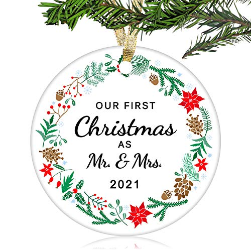 NURIONSS Our First Christmas as Mr & Mrs Ornaments 2020 - Christmas Wedding Decoration Gift for Couple Married Newlyweds - 3' Ceramic Ornament(Mr & Mrs 1)