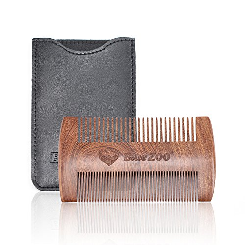 Wooden Beard Comb for Men Anti-Static Dual Action Fine and Coarse Teeth Wood Beard Hair Mustaches Comb with Leather Case for Balms and Oils(Black Cover)