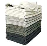 VibraWipe Microfiber Cleaning Cloth 12-Pack, Large Size 14.2'x14.2', Trap Dust, Dirt and Pet Dander in Split Fibers. Absorb up to 5X Their Weight in Liquid Machine Washable, Reusable and Lint-Free