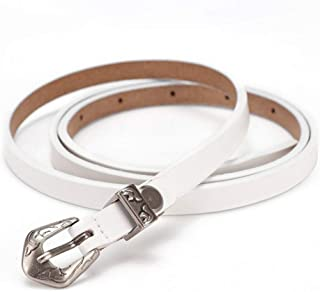 Women with Classic Pin Alloy Buckle Pants Leather Waist Belt (Color : White)