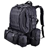 AW 55L 600D Oxford Military Tactical Army Rucksacks Molle Backpack Camping Outdoor Hiking Trekking Traveling Bag Black
