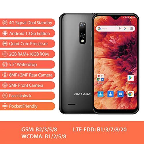 Android 10 4G Smartphone Pas Cher Ulefone Note 8 P Telephone Portable Debloqué Pas Cher 2Go RAM 16Go ROM avec Fente 3 en 1, Écran de 5,5 Pouces 8MP + 2MP + 5MP Triple Caméras, Face ID, Dual SIM