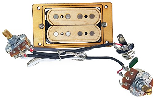 'DeltaBucker Deluxe' 4-string Maple Cigar Box Guitar Humbucker Pickup pre-wired with Volume & Tone - No Soldering Required