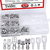 Twidec/270Pcs 2.8/4.8/6.3mm Quick Splice Male and Female Wire Spade Connector Crimp Terminal Block Assortment Kit with Insulating Sleeve for Electrical Wiring Car Audio Speaker