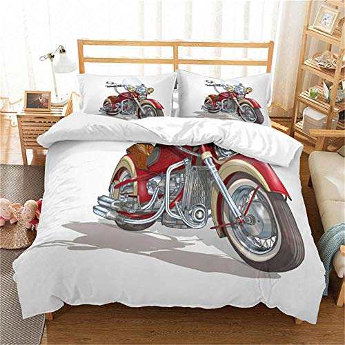 Double Duvet Cover Set Motocross Racer Grey City and Motorcycle 3D Print Quilt Cover Set with 2 Pillow Shames Lightweight Soft Microfiber Bedding Sets with Zipper Closure 3PCs-A_US-FULL200cm×229cm