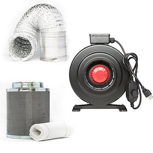 Hydroplanet™ 8-inch CFM 800 Inline Fan Built-in Speed Controller Carbon Air Filter and 25-feet Ducting Combo Kit (8-inch kit)