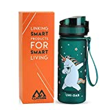 Kids Water Bottle - 12oz - Leak Proof - BPA FREE & NON-Toxic - Fast or Slow Flow - Single Action Lid...