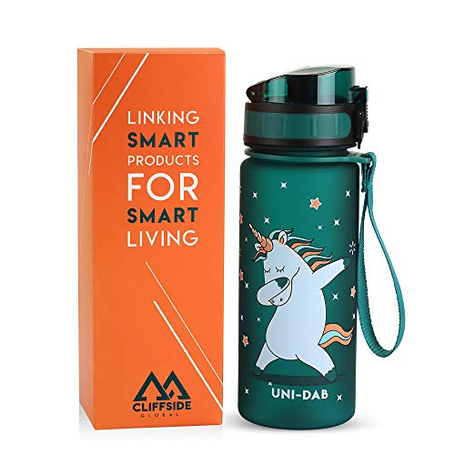 Leakproof Lightweight Kids Water Bottle - 12oz - BPA FREE & NON-Toxic - Fast or Slow Flow - Single Action Lid - Eco-Friendly & Durable TRITAN Material - Reusable - Unicorn Approved (Veridian Green)