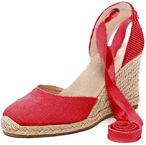 Tomwell Sandalias Mujer Cuña Alpargatas Moda Bohemias Romanas Sandals Rivet Playa Verano Tacon Zapatos A Rojo 39 EU