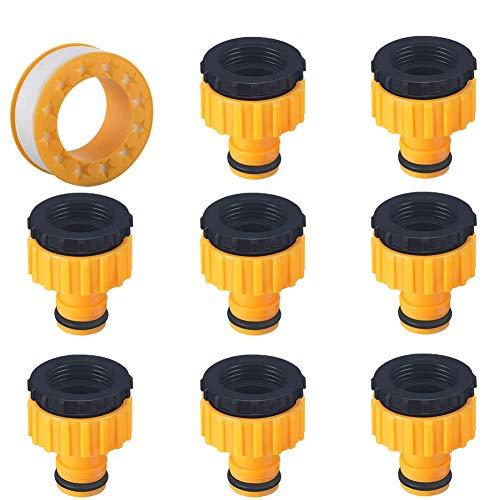 AMZSUPER ERA Hahnverbinder 1/2 Zoll Und 3/4 Zoll, 8 Stück Schlauchverbinder 2in 1 Für Quick Wasserhähne Gewinde Schlauchanschluss, Mit Gewindedichtband 1Pcs