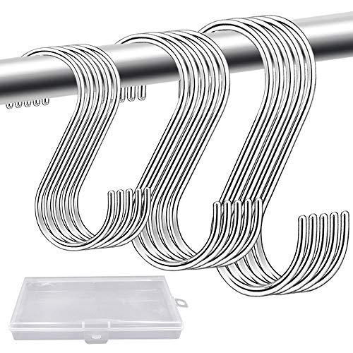LINVINC S Haken - Metalen Roestvrijstalen Multifunctionele Hanger Haken voor Keuken Badkamer Slaapkamer,Zilver,7.5cm+9cm+11cm(totaal 15 stuks)
