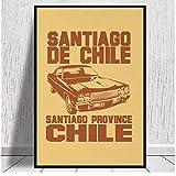 JLFDHR Santiago De Chile-Car 2 Impresiones En Lienzo Lienzo Pintura Póster Sala De Estar Moderna Decoración De Sala De Estar-60X80Cmx1 Sin Marco