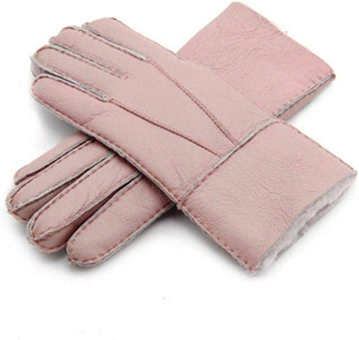 ZZTT Autumn and Winter Gloves Real Leather Sheepskin Winter Gloves Hot Warm Stylish Full Finger Ladies Gloves Mittens Genuine Leather Women's Gloves Warm and Comfortable Gloves