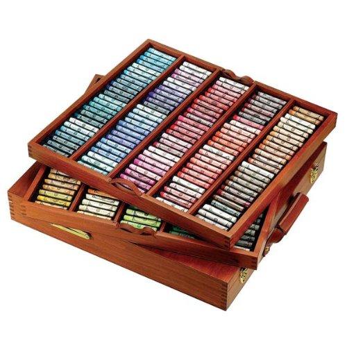 Sennelier - Juego de cajas de madera pastel suave - The Royal Collection   250 pasteles suaves