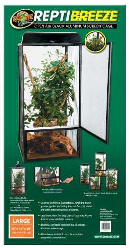 """Price comparison product image Zoo Med ReptiBreeze Screen Terrarium,  Large Size 18"""" W x 18"""" D x 36"""" H Bundle with Carolina Custom Cages' Chlorhexidine Solution 2%; 1 Refill Makes 32 oz. of Working Solution"""