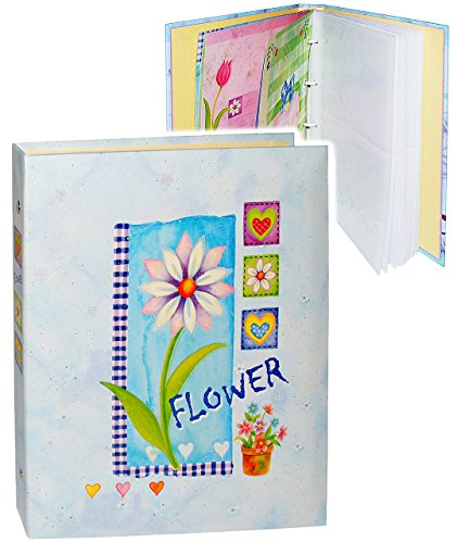 alles-meine.de GmbH Einsteckalbum / Fotoalbum -  Flower - Blumen - blau  - 11x15 & 10x15 - Ringbuch beliebig erweiterbar - zum Einstecken - für bis zu 80 Bilder - groß Gebunden..