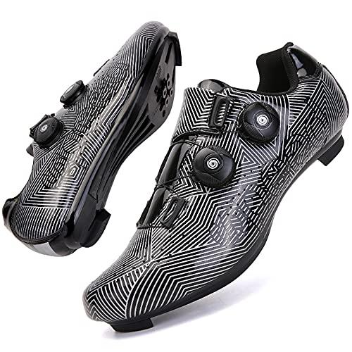 CHUIKUAJ Zapatillas de Ciclismo para Hombre, Mujer, Luminosas, para Ciclismo de Carretera, Zapatillas para Montar, Zapatillas Peloton, Tacos Transpirables, Compatibles con SPD Look,Black-37EU