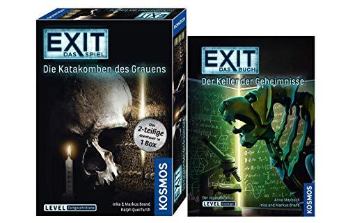 EXIT Kosmos 694289 Die Katakomben des Grauens - Juego de mesa (en caja de 2 piezas, nivel avanzado, libro de Escape Room Spielbuch (en alemán)