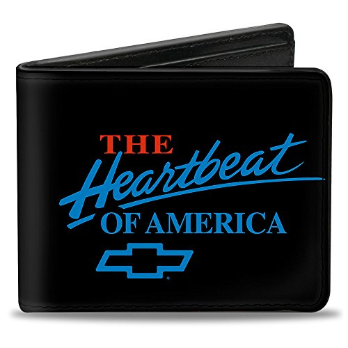 Buckle-Down mens Buckle-down Pu Bifold - Chevy Bowtie/the Heartbeat of America Black/Red/Blue Wallet, Multicolor, 4.0 x 3.5 US