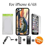 iPhone 6 Case / 6S Cases Custom Pro Fishing Bass-Shock Absorption-Super Protection,Nice Feeling to Hold The Phone- Black-Rubber Case,3in1 Comes with HD Tempered Glass/Stylus Pen by innosub
