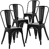 Home Heavenly® Pack de Cuatro sillas Comedor, Modelo TOLIX, sillas metalicas apilables Modelo Vintage Industrial, para Uso Interior, envío Desde España. (Negro)