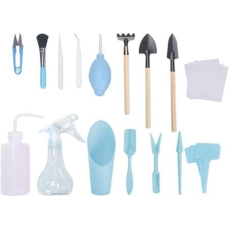 Apofly 16pcs Bleu Kit d'outils de Transplantation Succulent Ensemble d'outils de Jardinage Mini Kit de Jardin Succulent Outils de Transplantation pour Entretien des Plantes de Jardin intérieur
