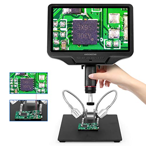 Andonstar AD409 HDMI Digital Microscope 10.1 inch LCD Screen 300X USB Electronic Microscope Camera for Magnifying, PCB Soldering, Coin Collection