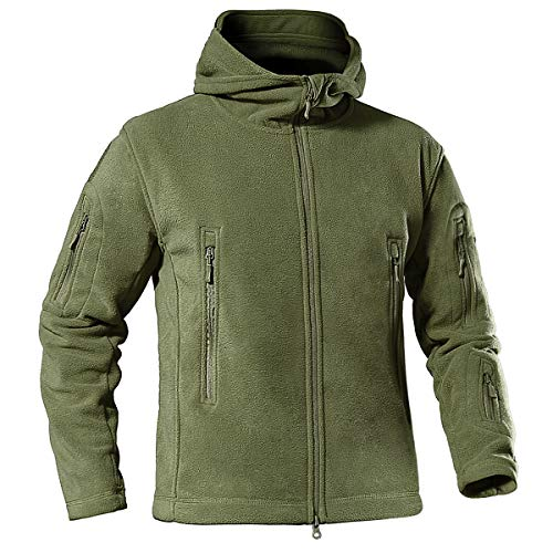 KEFITEVD Chaqueta de Hombres Primavera Chaqueta Forro Polar Casual Militar Táctico Ejercito Verde